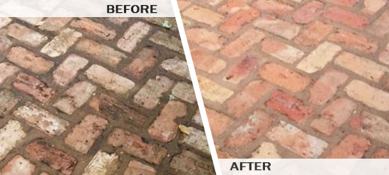 Before and After Pressure Washing Brick